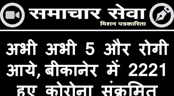 Just 5 more patients came, 2221 corona infected in Bikaner