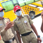 NCC cadets on road at the initiative of the collector