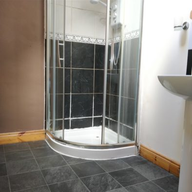 this is an example of a shared bathroom, featuring stone floor and a clean shower