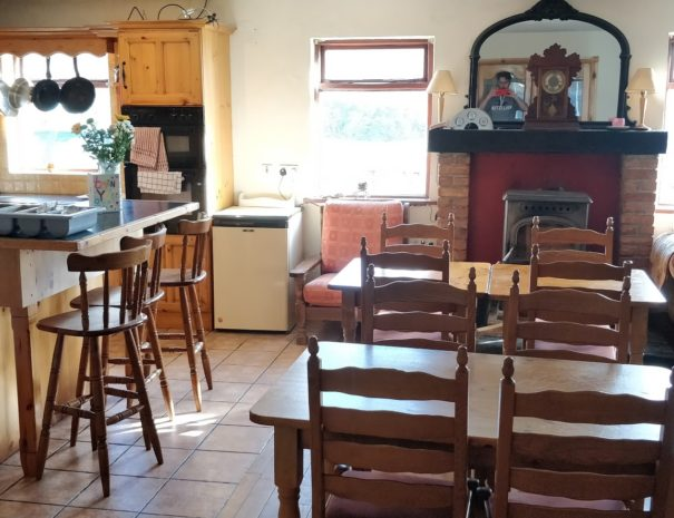our large kitchen and dining area in the early morning light