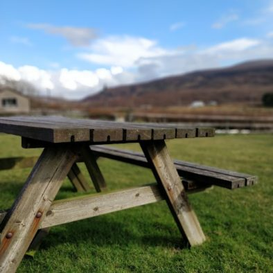 a table outside of Aras BnB in the front garden on a sunny morning. Our Donegal B&B is absolutely lovely in the summer