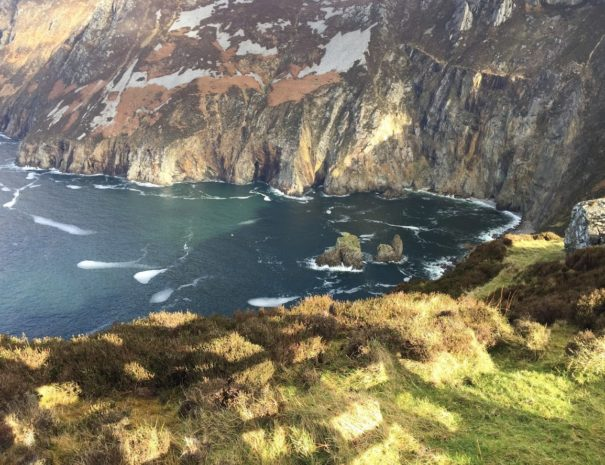 Sleive league sea cliffs falling straight into the ocean, showing a staggering height of 600m