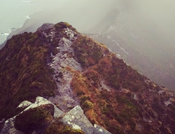 The infamous 'One Man's Pass' at the top of Slieve League cliffs. Picture taken in winter