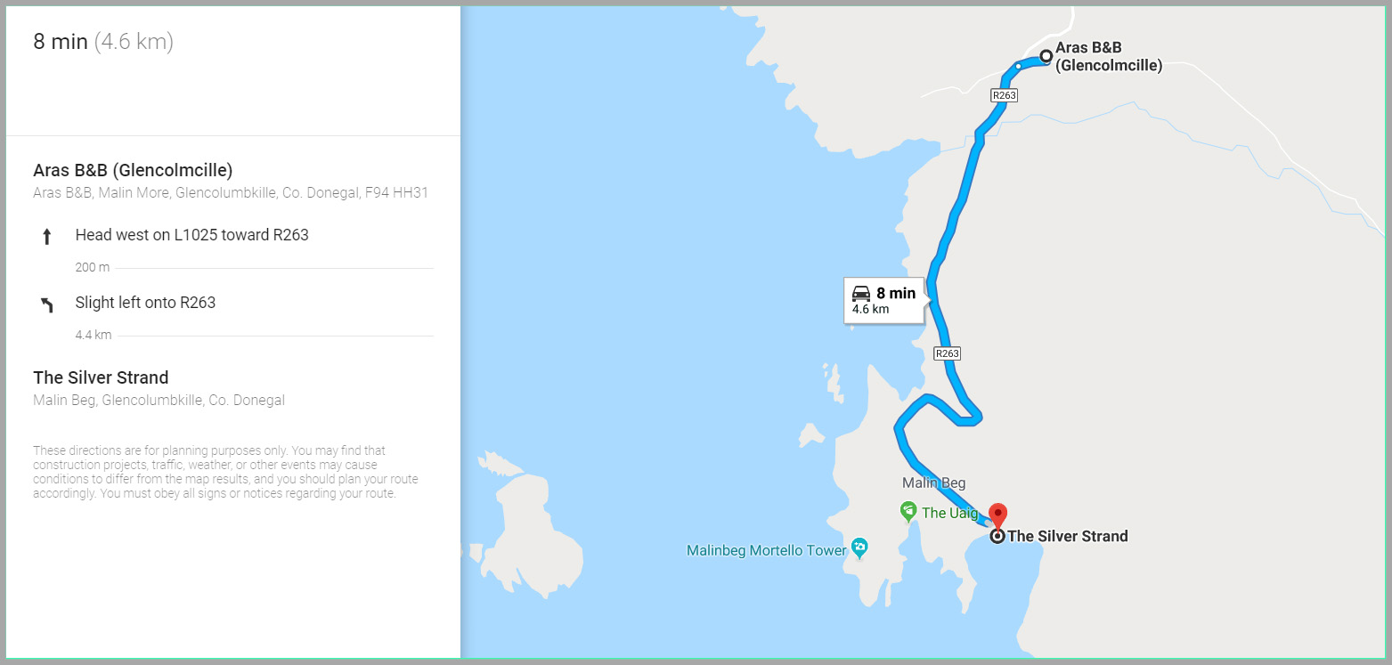a google maps excerpt that shows a map and directions to silver strand beach from Aras BnB
