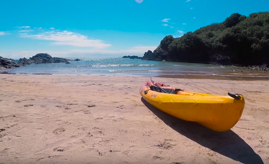 a kayak lies on the shore at Fintra Beach