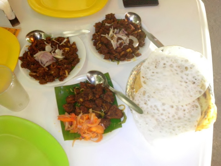 Beef Dry Fry, Chicken Pepper Fry and Appam(s)