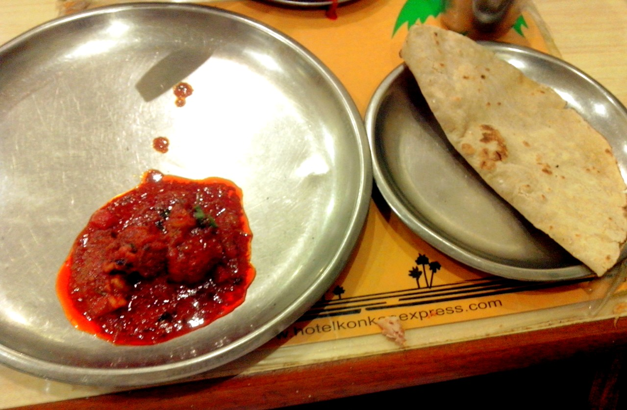 Note the vibrant, rich, red of the Mutton Kolhapuri