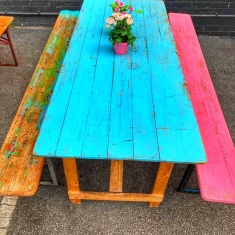 vintage table and bench
