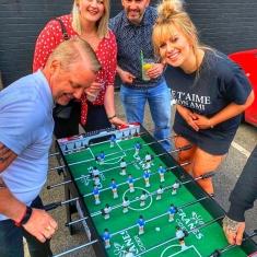 outdoor street food market table football