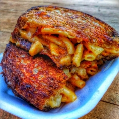 Mac and cheese toastie sourdough street food