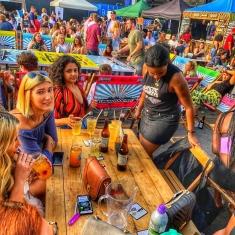 street food Shoreditch market deckchairs