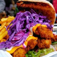 buttermilk chicken fried burger fries