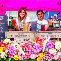 Flowery cocktail bar at Urban Food Fest street food market in Shoreditch