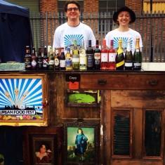 Wooden handmade vintage bar at Shoreditch street food market