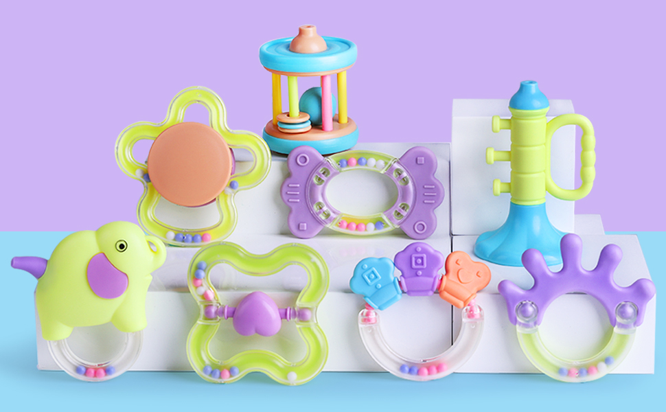Learning Aid 2 X Twist and Turn Rattles Set of 2 Encouraging your Baby