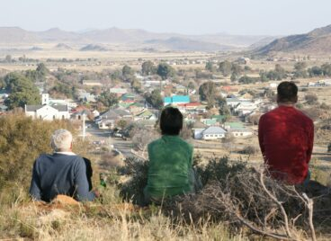People on a hill overlooking Philippolis