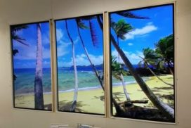 Digital windows with beach visual