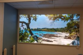 Virtual window with beach scene