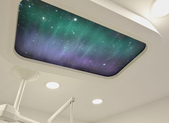 Galaxy scene for fake skylight in dentist practice
