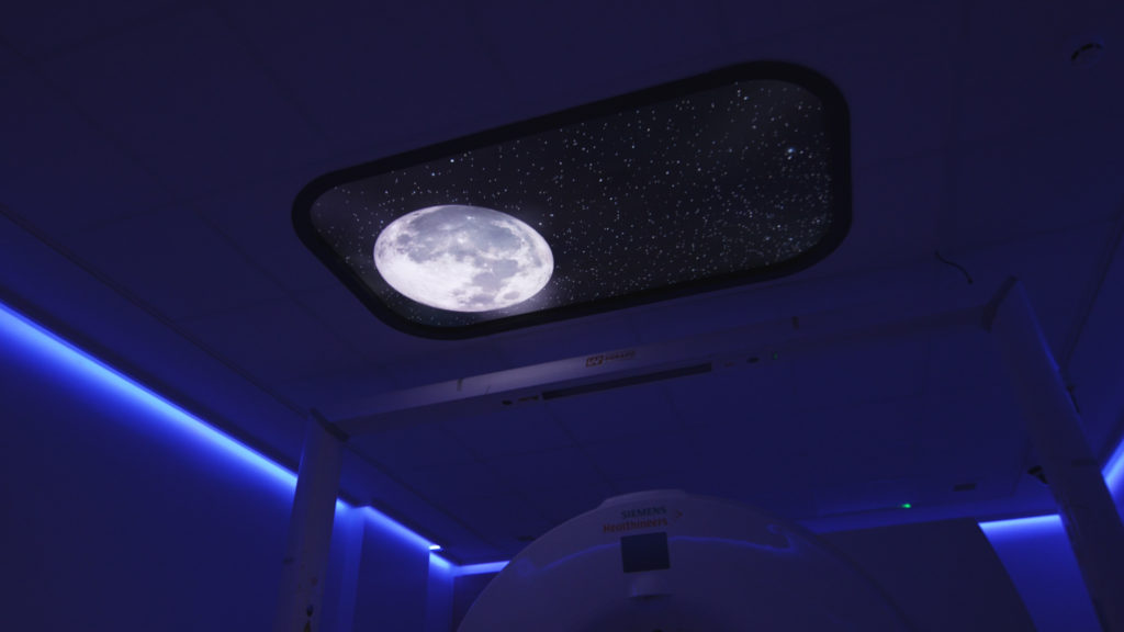 Nighttime scene in LED sky ceiling