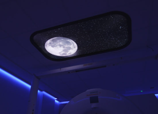 Nighttime scene in LED sky ceiling