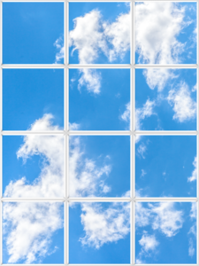 Faux window for windowless office with cloud scene