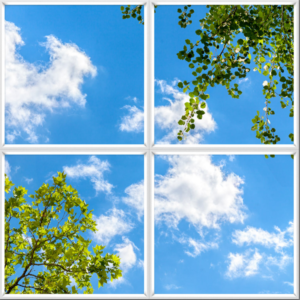 LED sky ceiling panels uk blue sky clouds and foliage