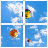 Sky ceiling with clouds and hot air balloons