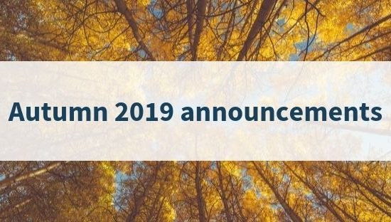 Autumn 2019 announcements