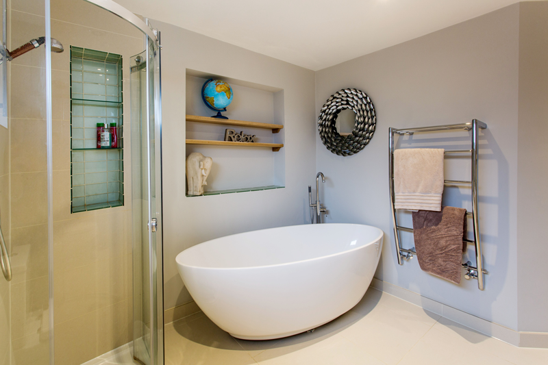 large egg bath in white, deep bath, new bathroom ideas, interior designer Oxfordshire, home decor, interior stylist,
