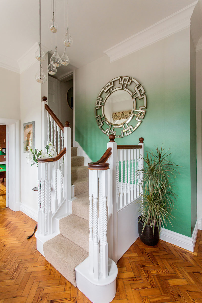 Mint ombre, painted walls, parquet flooring, hallway designs, Oxfordshire, interior designer