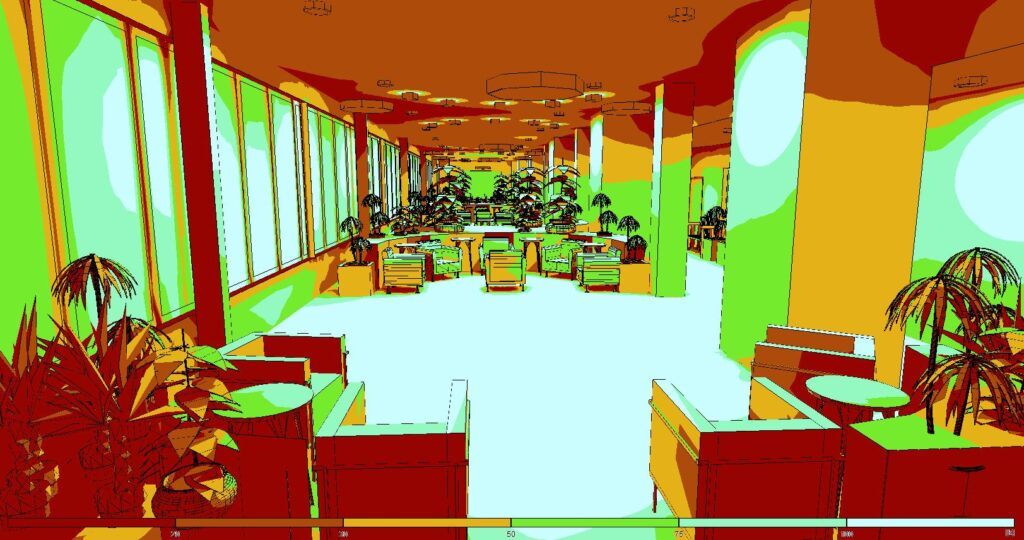Relux 3D view of a care home atrium in pseudo colour to show even distribution across the floor space