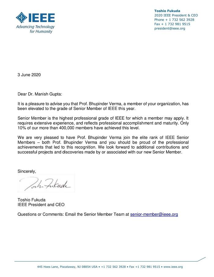 Senior Member Elevation Email Letter - Prof. Bhupinder Verma