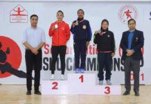 LPU student Geeta looking cheerful on winning gold medal at 29th Senior National Wushu Championship at Chandigarh