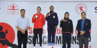 LPU student Geeta looking cheerful on winning gold medal at 29th Senior National Wushu Championship at Chandigarh