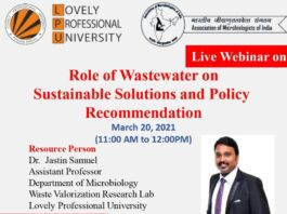 Live webinar on Role of Wastewater on Sustainable Solutions and Policy Recommendation