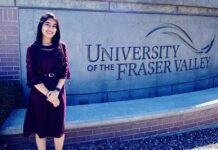 LPU's BSC Airlines student Geetika Jaswal looking cheerful on joining Canada's Fraser Valley University