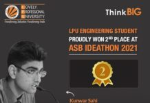 LPU Engineering student secured 2nd place at ASB Ideathon 2021