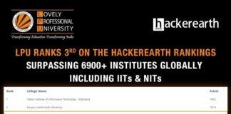 LPU ranks 3rd on the HackerEarth ranking