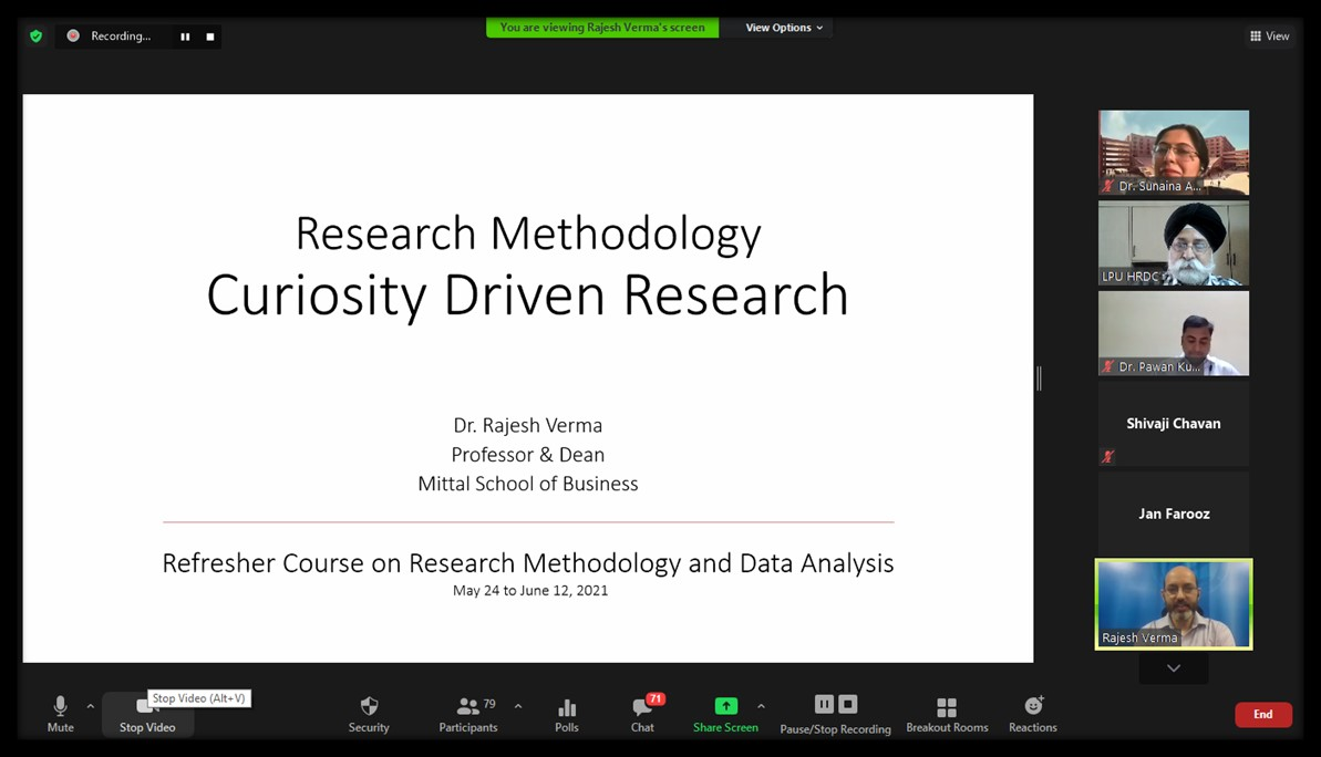 Refresher Course on Research Methodology and Data Analysis