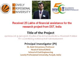 LPU Faculty received INR 25 lakhs for Research Project from DST, India