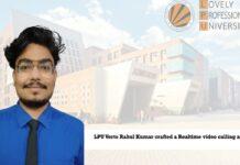LPU Verto Rahul Kumar crafted a Realtime video calling app!