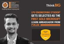 LPU Verto selected as the first Gold Microsoft Learn Student Ambassador from Punjab