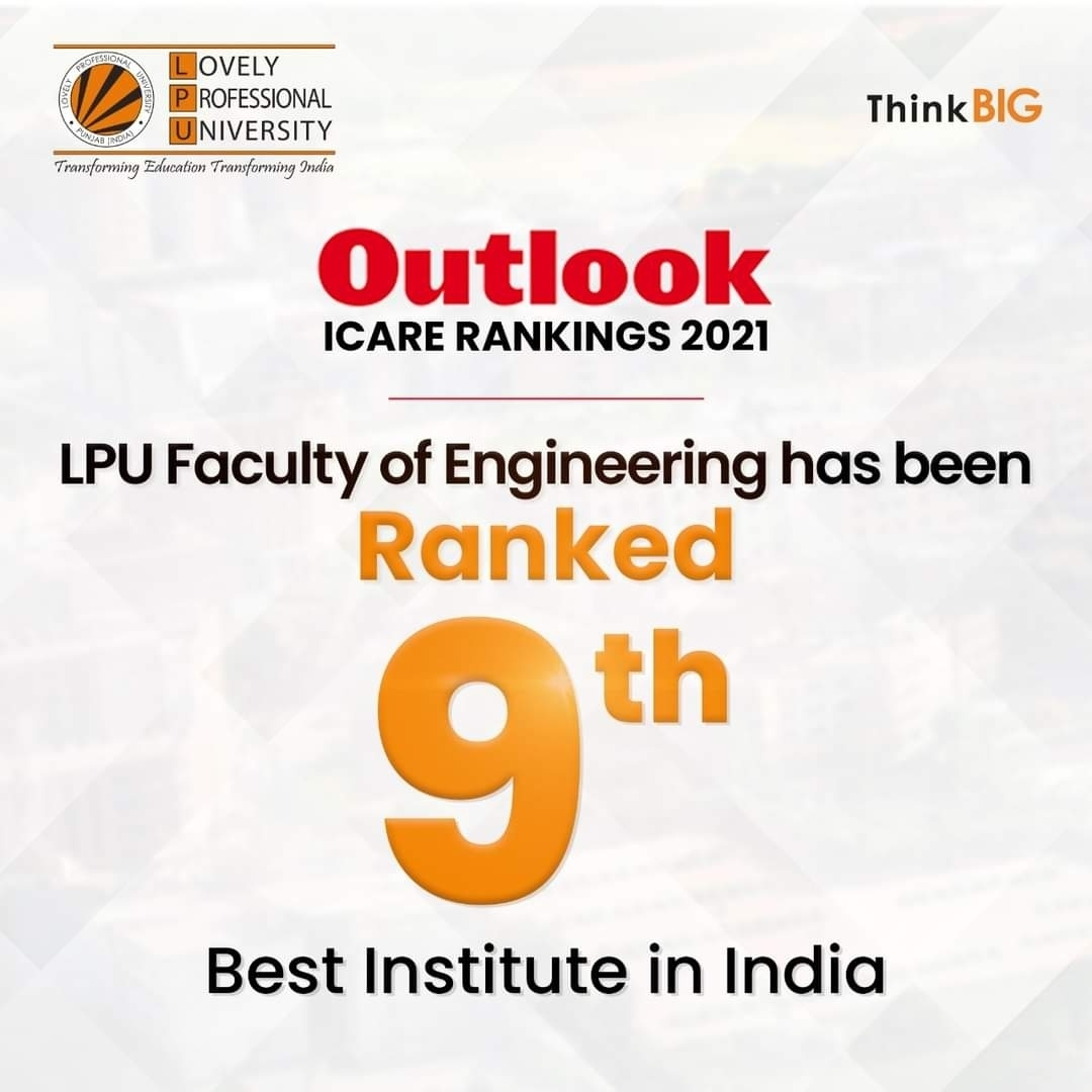 Lovely Professional University upholds pure dominance over Outlook ICARE rankings 2021!