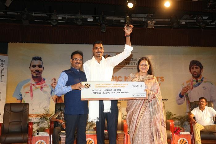 After awarding Neeraj Chopra, LPU honours its Olympian Student Punia & Paralympian Nishad
