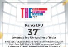 LPU ranks 37th amongst elite universities in India