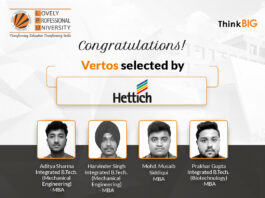Six Vertos from LPU's MBA class of 2021, placed at Hettich!