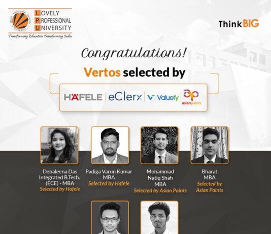LPU placed six Vertos at leading MNCs