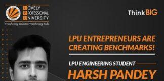 LPU student Harsh Pandey selected in Entrepreneurship Development Programme under Skill Vigyan Program, MST, GOI
