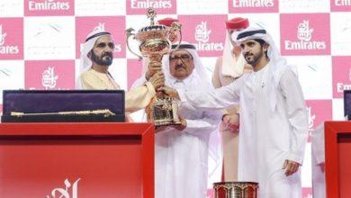 """Photo of بحضور محمد بن راشد.. الجواد """" ثندر سنو """" يفوز بكأس دبي العالمي"""